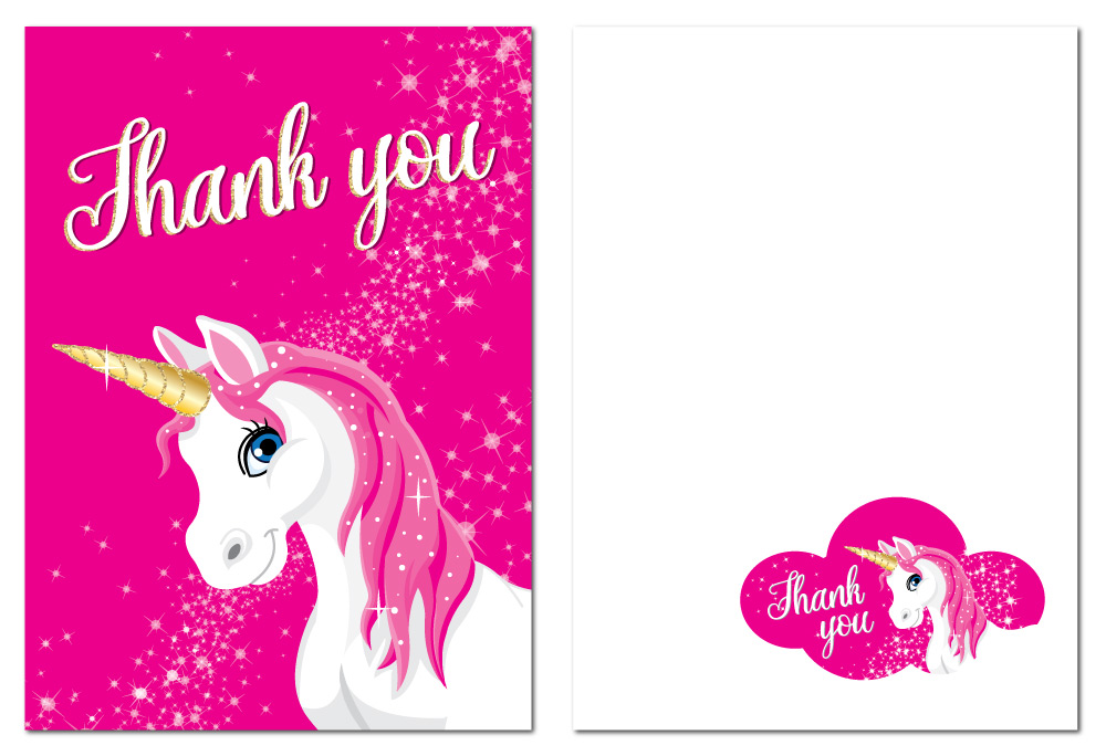 thank you cards  white 'unicorn' with pink background 24