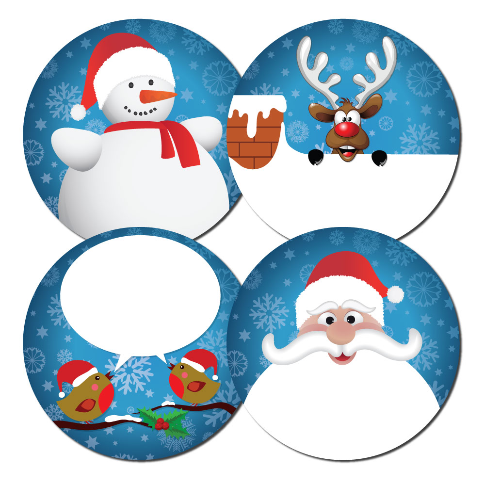 kids choice of 2 designs Personalised Christmas stickers pack of 24,60 mm dia