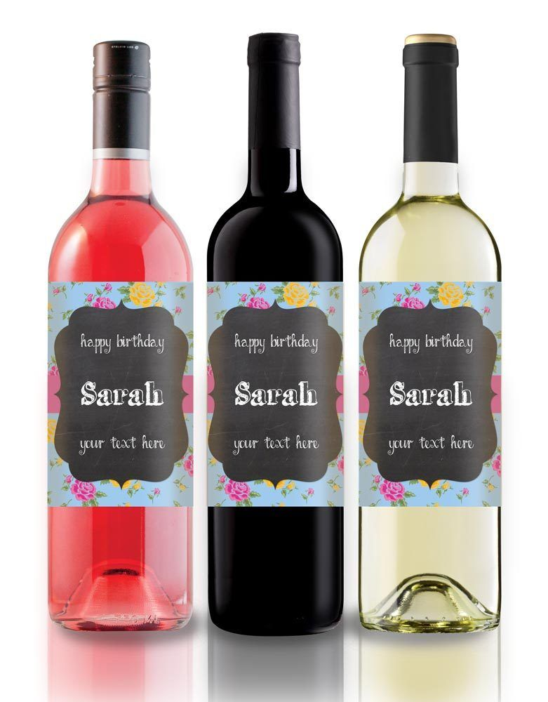 personalised wine photo bottle label birthday any occasion