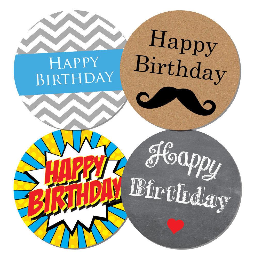 balloons 30mm white space to write name /'Happy Birthday/' stickers