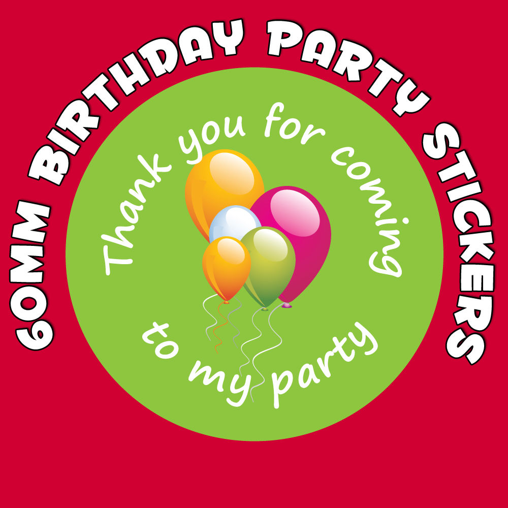 24 Birthday Stickers 30mm Pink Party Balloon Thank You For Coming To My Party