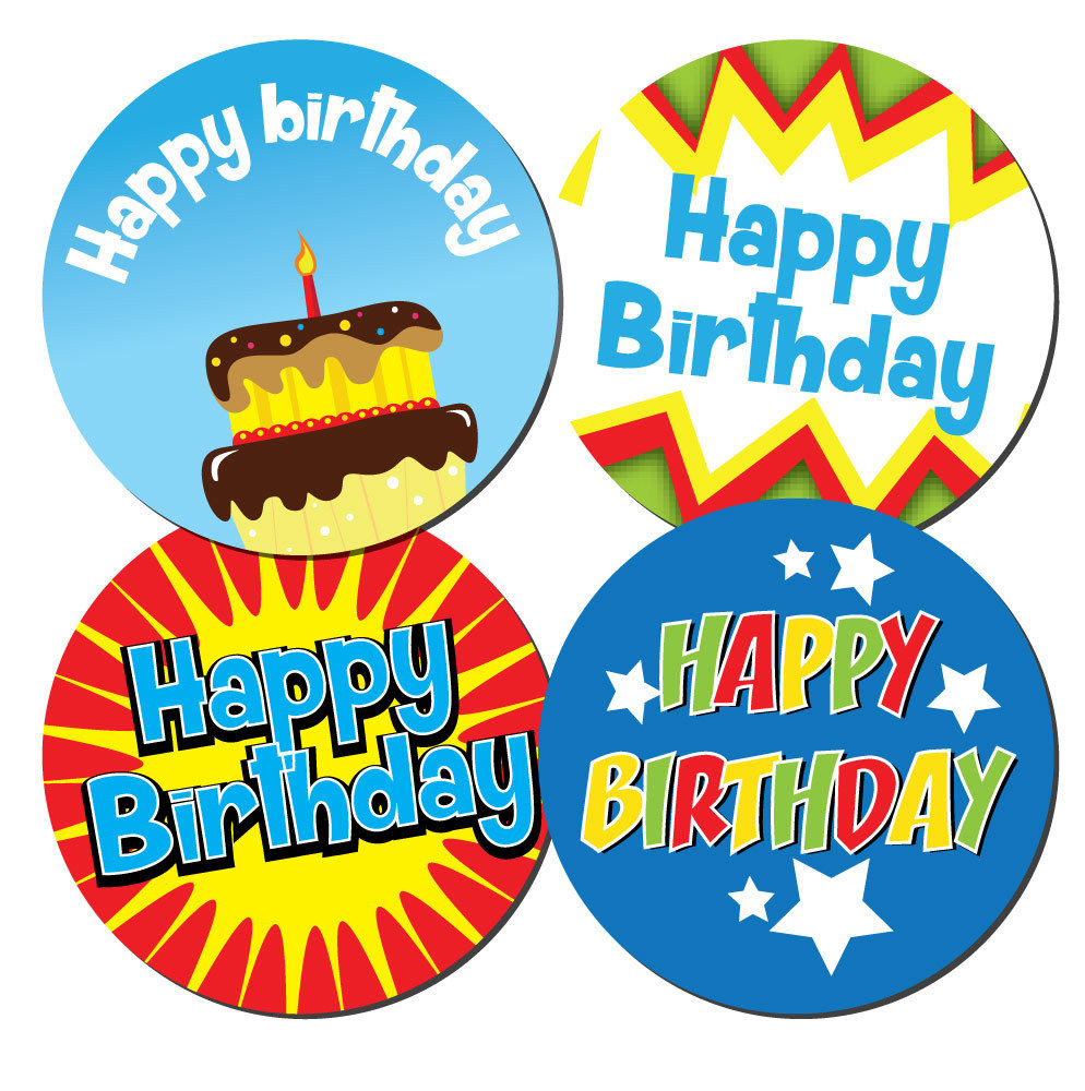 with space to write name 144 Thanks For Coming To My Party 30mm Birthday Stickers Blue StickerZone Birthday Cake Design
